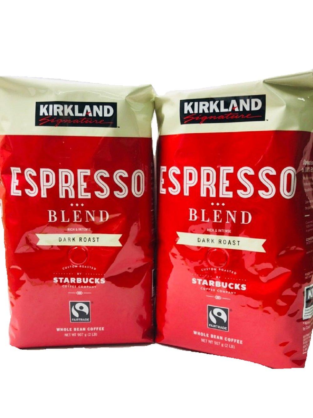 (Pack of 2) Kirkland Signature Dark Roast ESPRESSO BLEND Coffee Roasted By Starbucks 32 Oz. Bag by Kirkland Signature