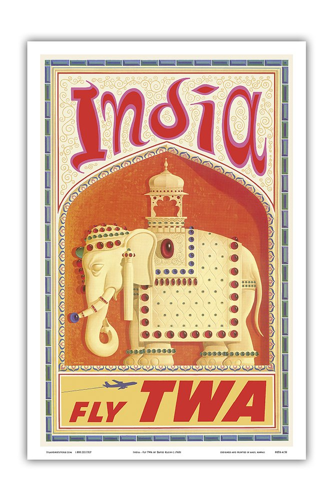 Pacifica Island Art India - Fly TWA (Trans World Airlines) - Bejeweled Indian Elephant with Howdah (Carriage) - Vintage Airline Travel Poster by David Klein c.1960s - Master Art Print - 12in x 18in by Pacifica Island Art (Image #1)