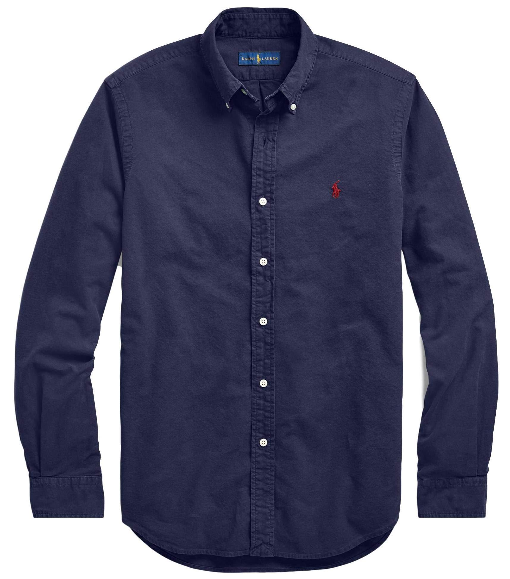 Polo Ralph Lauren Mens Stretch Oxford Slim Fit Sport Shirt, RLNavy M