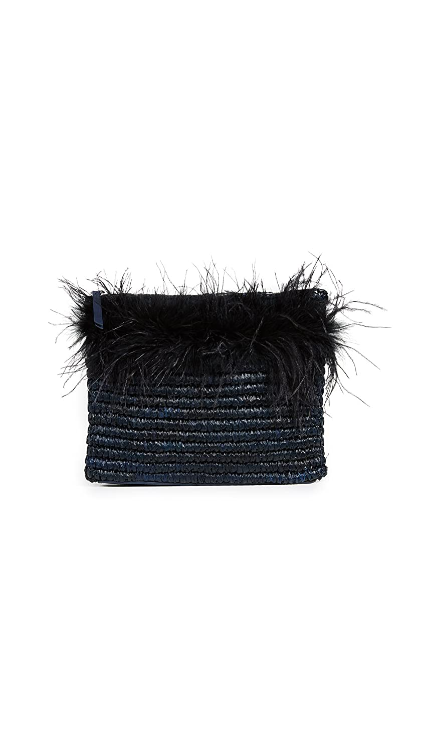Loeffler Randall Women's Feather Tassel Pouch Eclipse/Black One Size