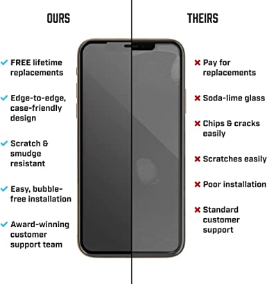 Black GzPuluz Glass Protector Film 25 PCS Titanium Alloy Metal Edge Full Coverage Front Tempered Glass Screen Protector for iPhone 11 Pro Max//XS Max Color : Black