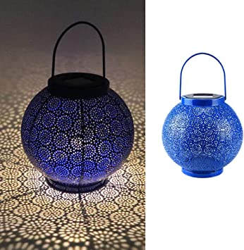 Blue Afirst Solar Lanterns Hanging Outdoor Solar Lights Decorative Tabletop Lantern Metal Waterproof LED for Patio Pathway Deck Yard