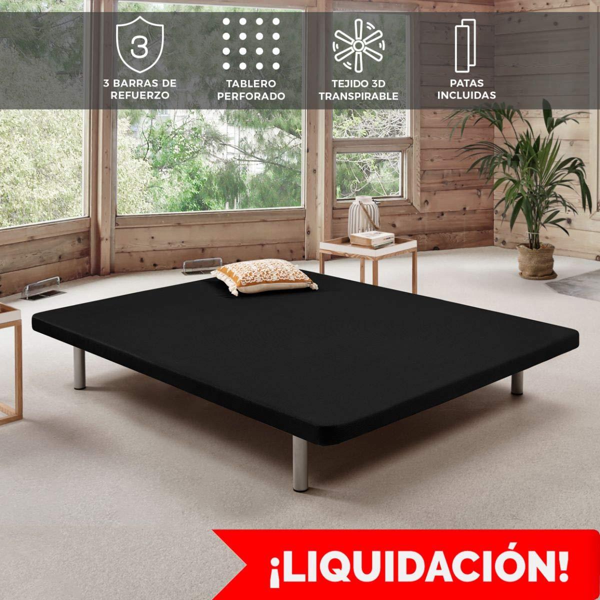 Komfortland Base tapizada 3D One Medida 90x200 cm Color Blanco (Patas 25 cm - Normales de Regalo): Amazon.es: Juguetes y juegos