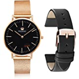 PROKING Luxury Minimalist Ultra Thin Slim Quartz Watches Rose Gold Stainless Steel Mesh Strap Business Waterproof Simple Couple Wrist Watch With Replaceable Free Extra Leather Band