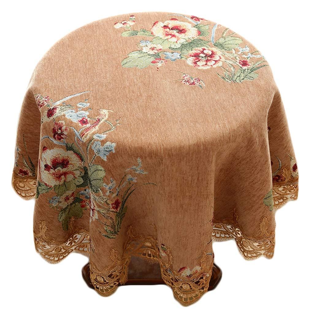 YTJ-JP ヨーロッパスタイルの小さな丸いテーブルクロス、花布の丸いテーブルカバー、家庭用コットン、リネンのテーブルクロス (Size : 140 cm) 140 cm  B07SRZTZVN