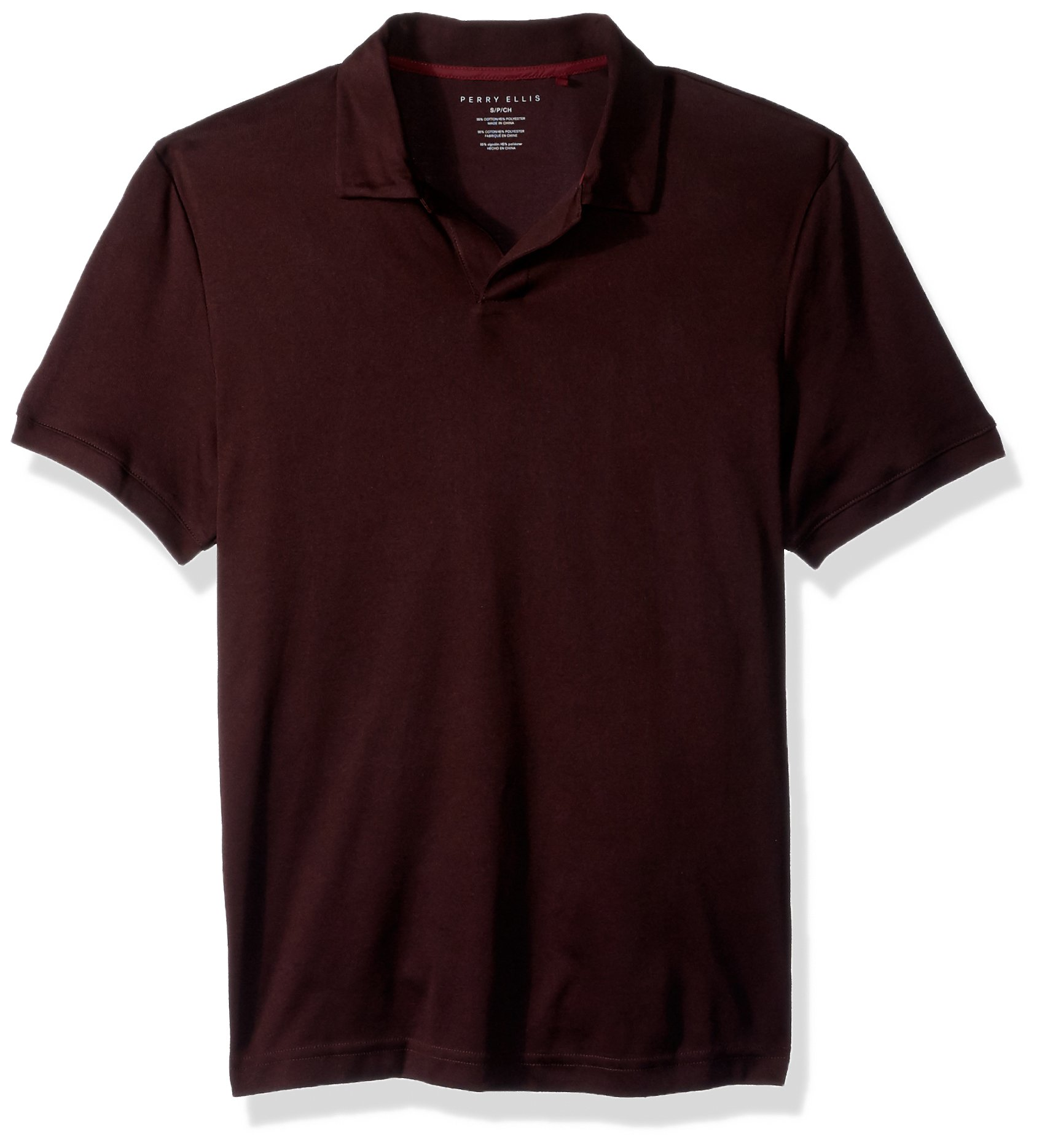 Perry Ellis Men's Short-Sleeve Cotton-Blend Open Polo Shirt, Port, Small