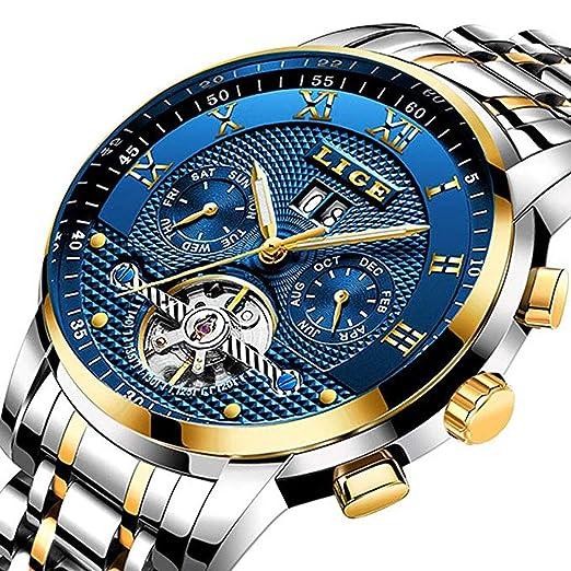 Weicam Hombres Top Business Reloj mecánico automático resistente al agua de acero inoxidable banda fecha cronógrafo reloj de pulsera: Amazon.es: Relojes