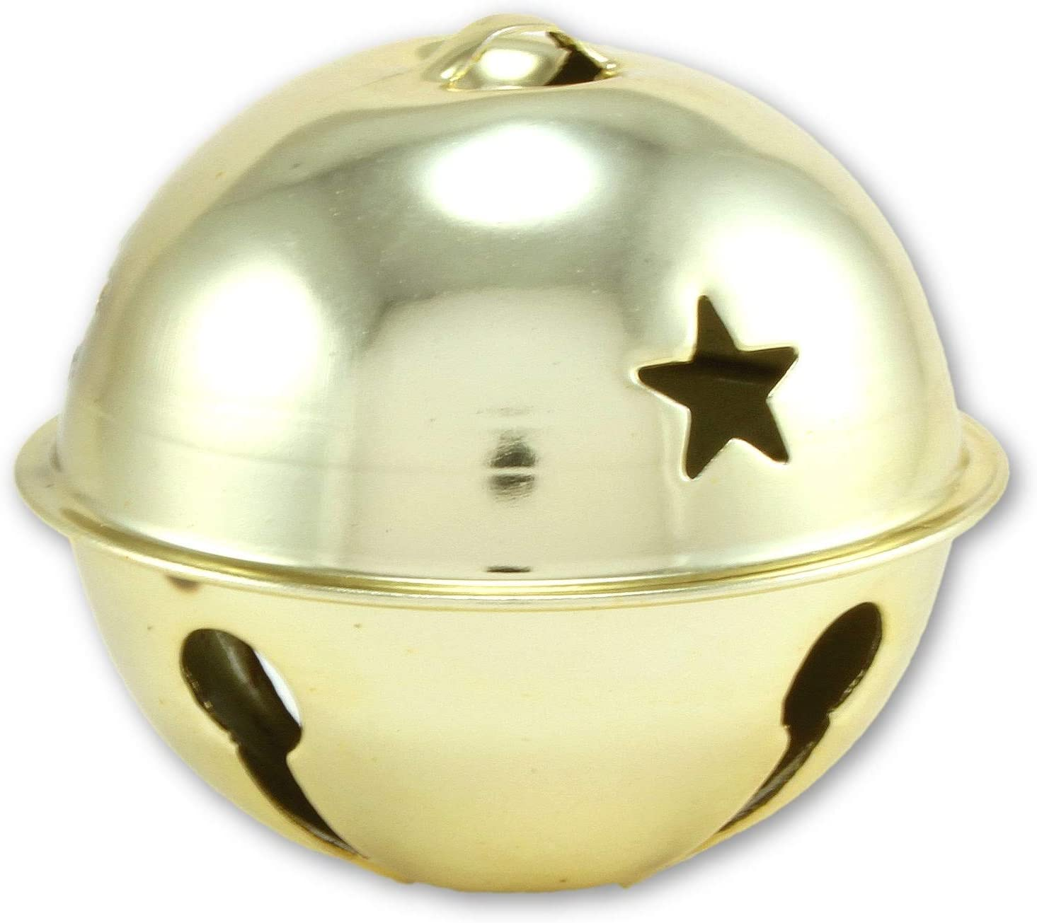 6 Gold Jingle Bells 2.75 Inch 70mm With Star Cut Outs Jumbo Large Wreath Holiday