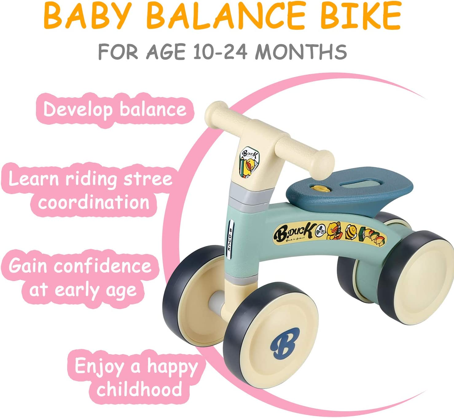 A Timy Baby Balance Bike for 1 Year Old/'s Riding Toys for 10-24 Months Toddler