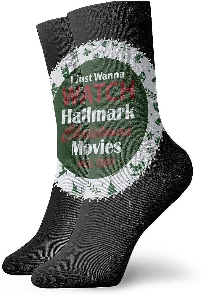 Amazon Com I Just Wanna Watch Hallmark Christmas Movies All Day Socks Sweat Absorbent Soft Socks Clothing