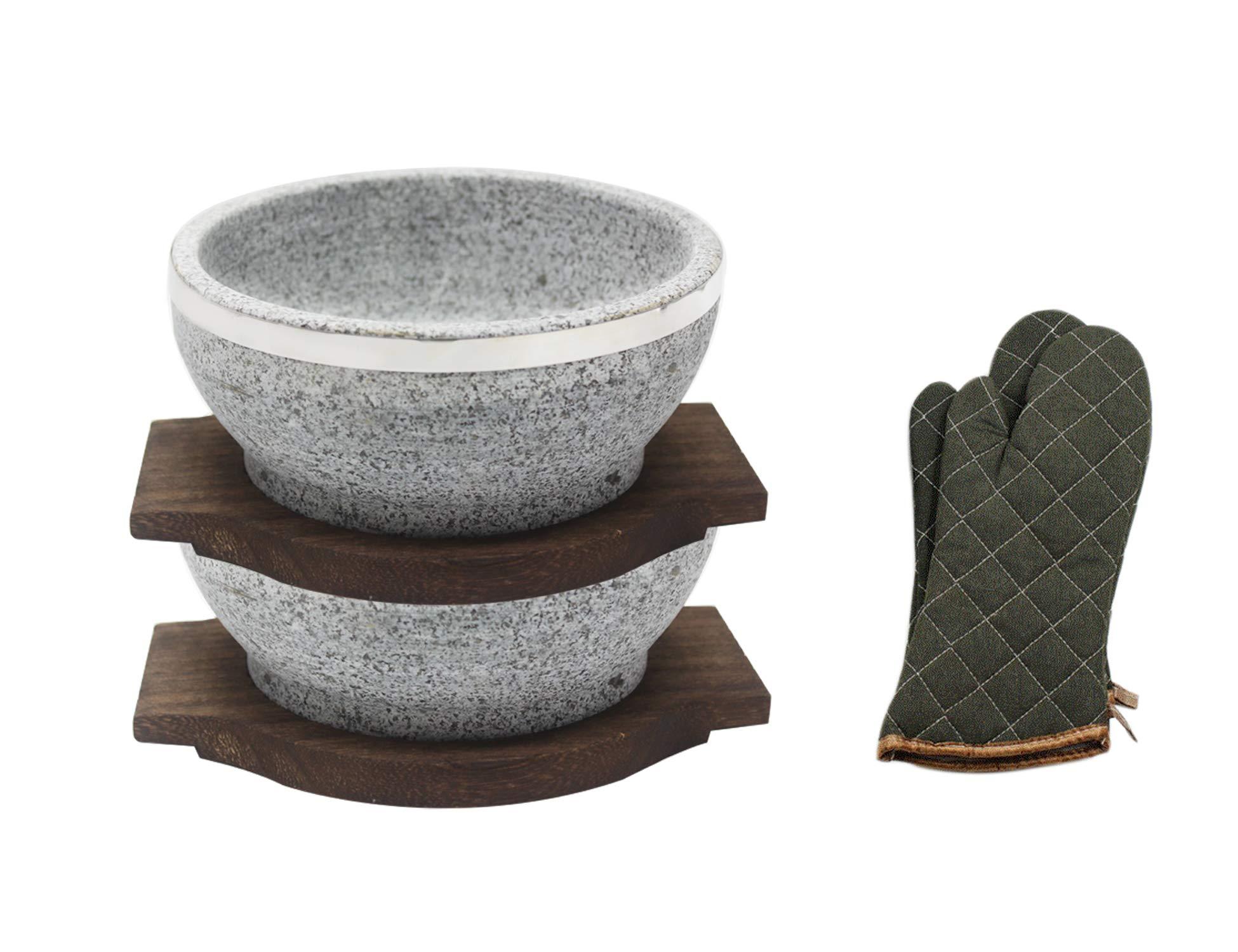 Natural Stone Dolsot Bibimbap Bowls, 32-Oz (Two Wood base + A pair of Cooking Gloves), Set of 2,Cooking Korean Soup and Food.