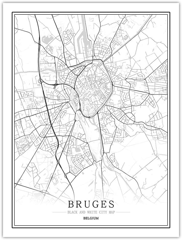 FEELHH Cuadro En Lienzo,Ciudad De Brujas Bélgica Mapa Mural Que Cubre La Pared Simple En Blanco Y Negro Lienzo Non-Woven Línea Imprimir Salón Decoración,20 * 30Cm.