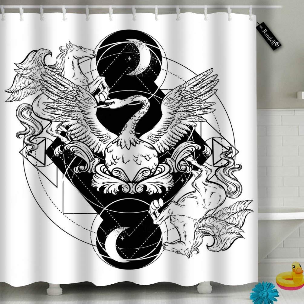 Randell Decor Swan Pegasus - Juego de Cortinas de Ducha con ...