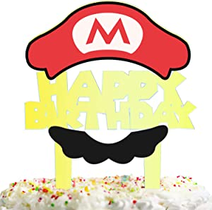 Cartoon Birthday Cake Topper Decorations with for Video Game Theme Picks for Kids Party Decor Supplies