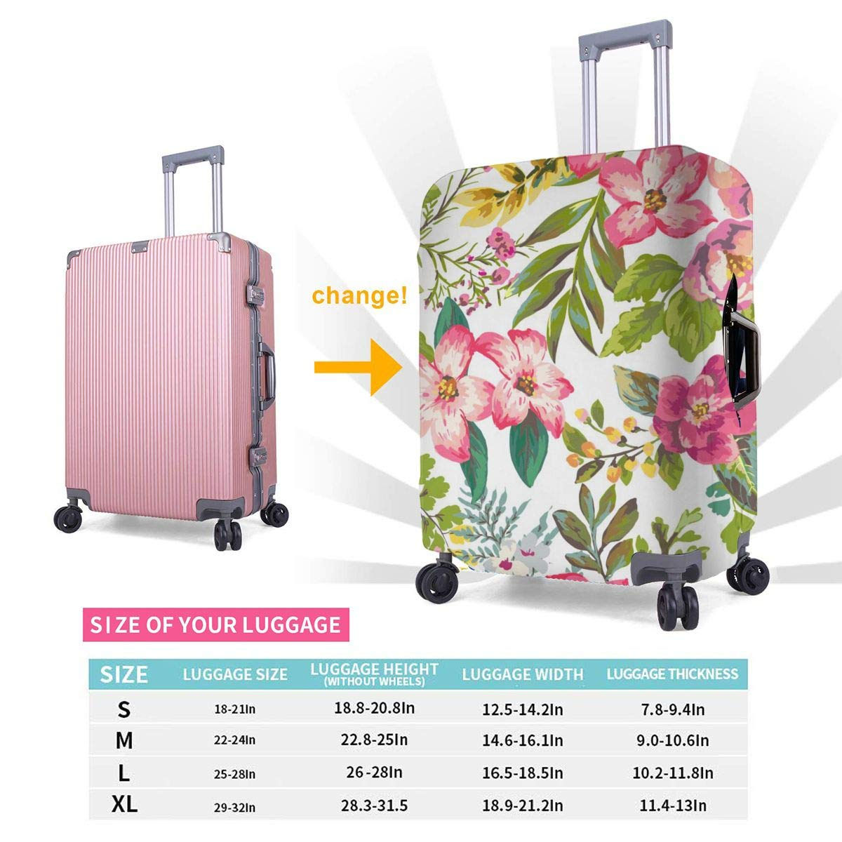 Travel Luggage Cover Hibiscus Flowers Design Travel Suitcase Protector Anti-scratch Washable Dust Thicken Elasticity Cover
