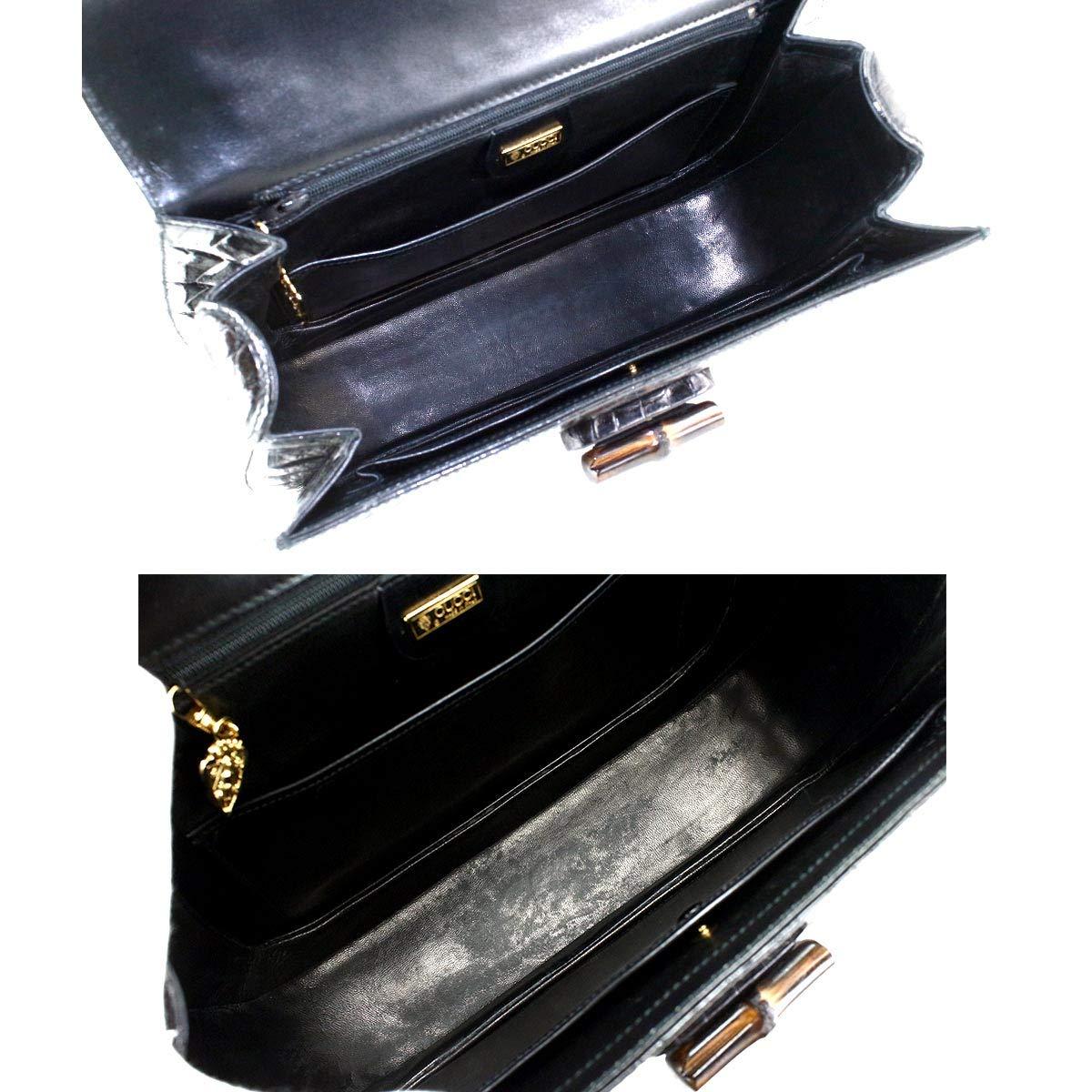 c28ddeae3a90 Amazon | グッチ GUCCI バンブー クロコダイル ハンド バッグ レザー わに革 ブラック 黒 000 46 0063 【中古】  90056755 | GUCCI(グッチ) | ハンドバッグ