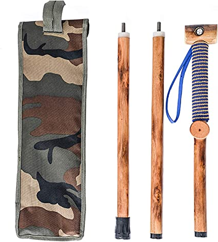 Nature Color, 48 Inches, 1 Piece FOREST PILOT 3 Piece Walking Stick Big Wooden Head with a Compass and a Thermometer