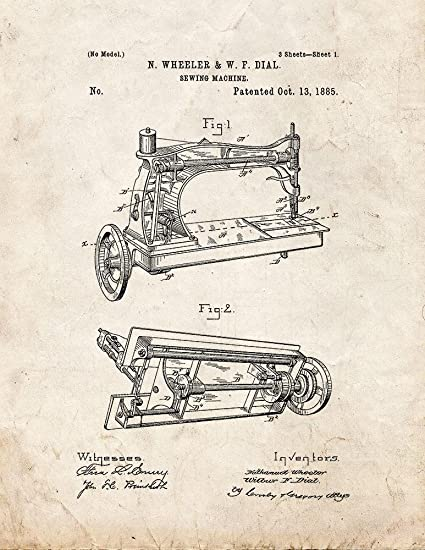 Amazon Sewing Machine Patent Print Art Poster Old Look 4040 X Enchanting Patent For Sewing Machine