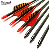 MS Jumpper Archery Carbon Arrows Hunting Arrows Spine 500 With Real Feathers For Compound Bow Longbow