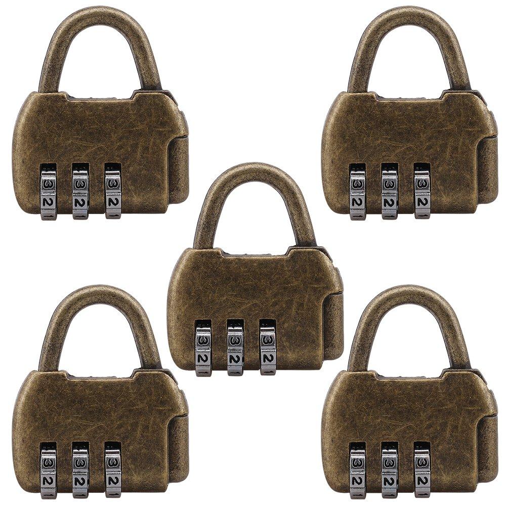 5 Pcs Zinc Retro Travel Bag Luggage 3 Digit Combination Padlock Suitable For Home Office Storage Lockers Security Password Lock