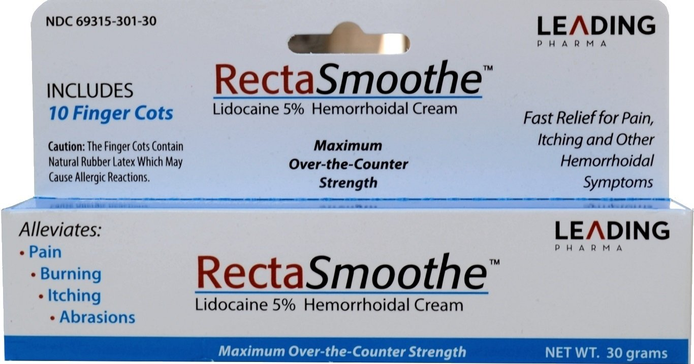 RectaSmoothe Lidocaine 5% Hemorrhoidal Anesthetic Cream, Fast Pain Relief for Hemorrhoids and Other Anorectal Disorders 1 oz. Tube by RectaSmoothe