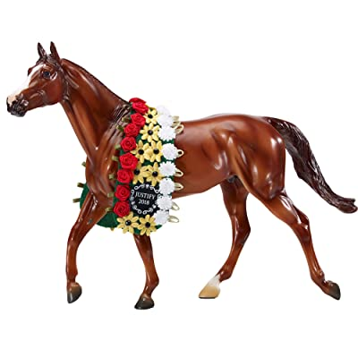 "Breyer Traditional Series Justify with Garland Horse Toy Model - 2020 Triple Crown Winner | Horse Toy Model | 13"" x 9"" 