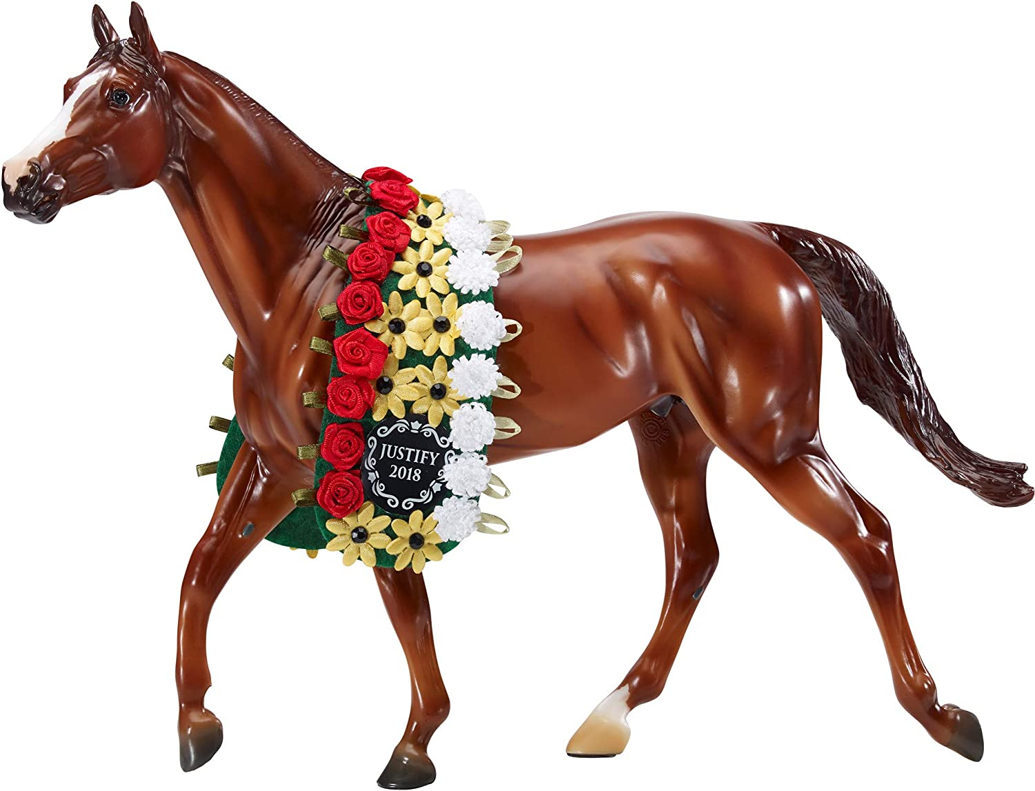 "Breyer Traditional Series Justify with Garland Horse Toy Model - 2018 Triple Crown Winner | Horse Toy Model | 13"" x 9"" 