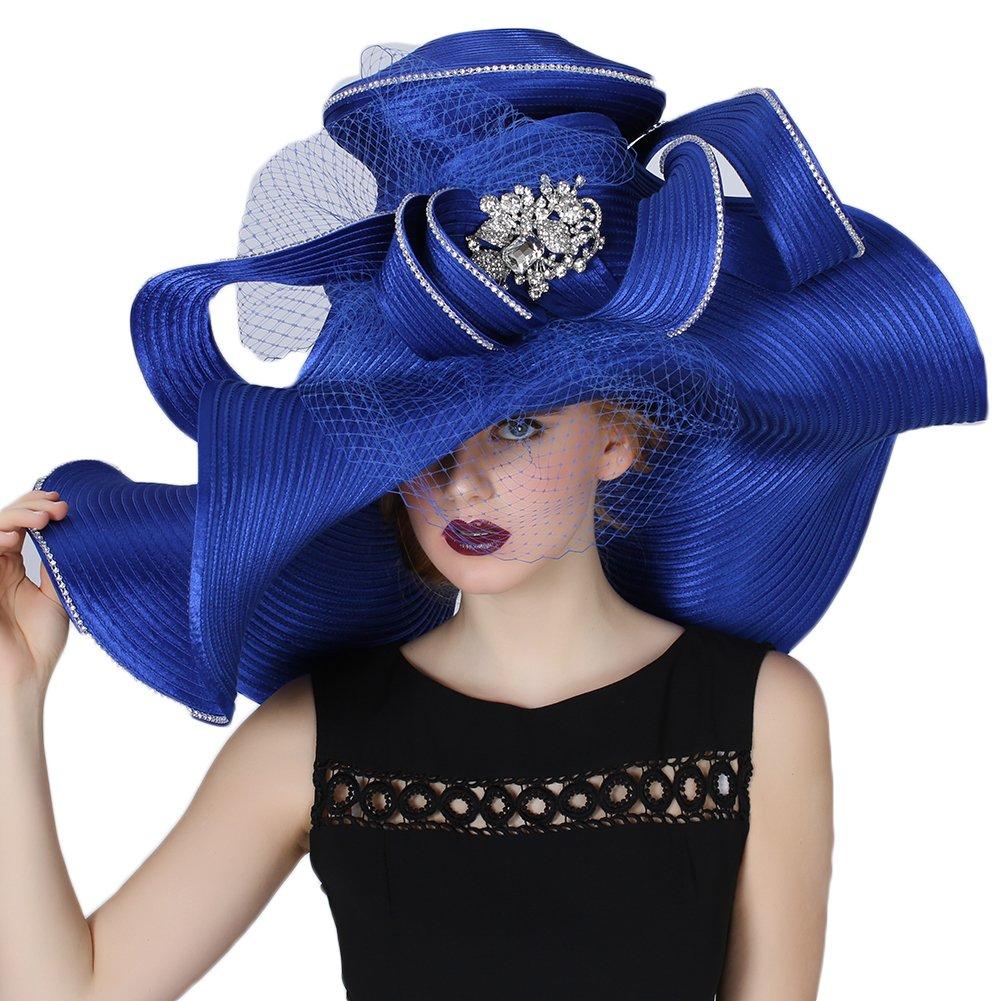 bluee June's Young Women Hat Large Brim bluee color Church Wedding Dress