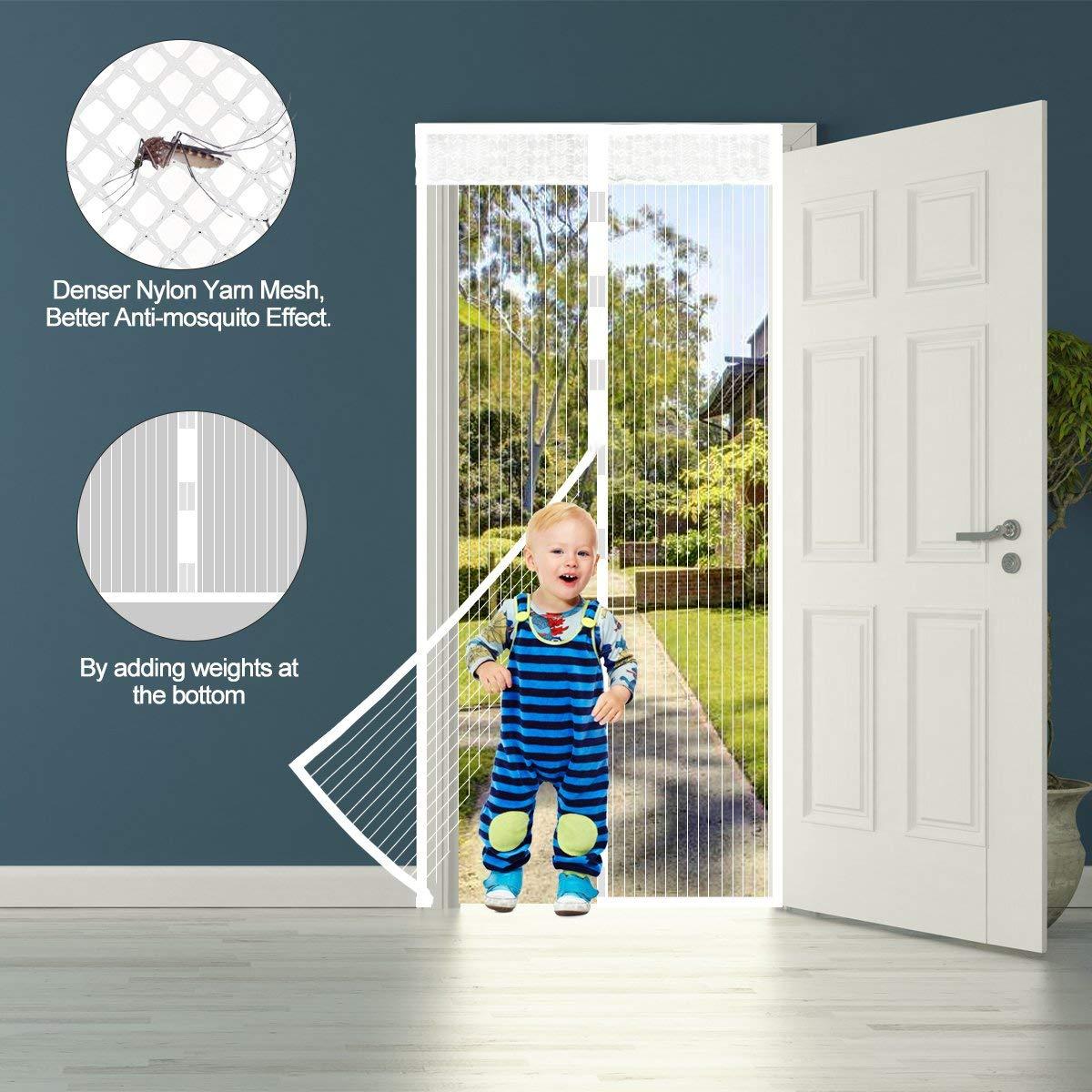 Fermeture Automatique Maille Ultra Fine Anti-Moustique,Facile /à installer le joint d/étanch/éit/é Rideau Moustiquaire de Porte 90x210CM Moustiquaire Magn/étique pour la Porte avec Aimants et Velcro