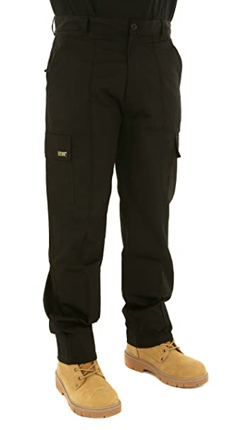 0b33680b1ef Mens Multi Pocket Action Cargo Work Trousers Sizes 28 to 52 Black or Navy 28  Waist
