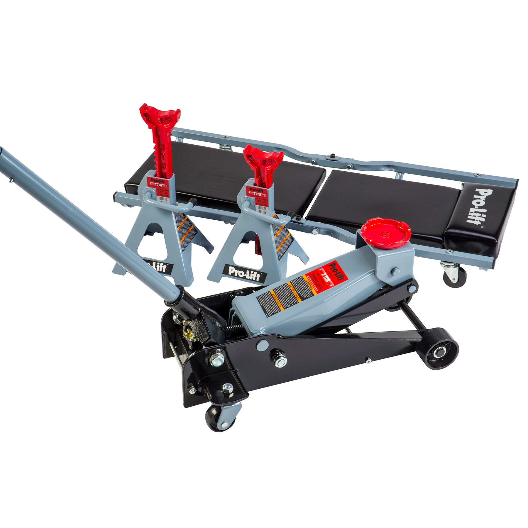 Pro Lift G-4630JSC 3 Ton Heavy Duty Floor Jack / Jack Stands and Creeper Combo - Great for Service Garage Home Uses