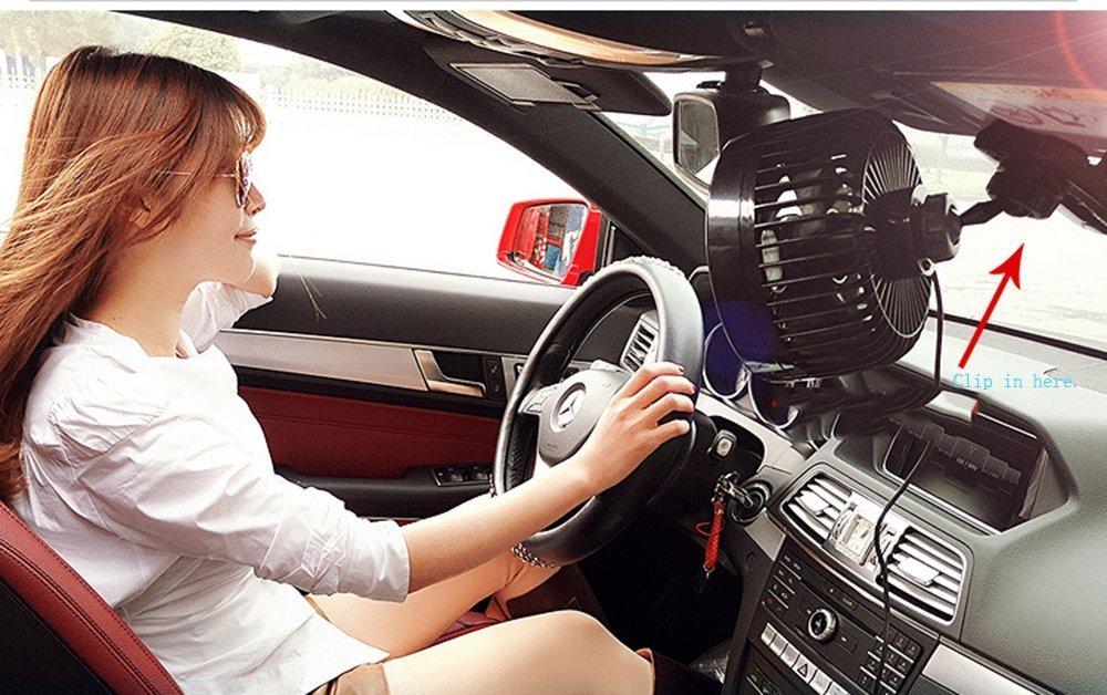 ventilateur auto Intsun 12V 6 pouces voiture Clip Fan Automobile V/éhicule de refroidissement Fan de voitures puissantes Calme Ventilateurs Speedless Ventilation voiture /électrique avec prise allume-cigare clip pour l/ét/é
