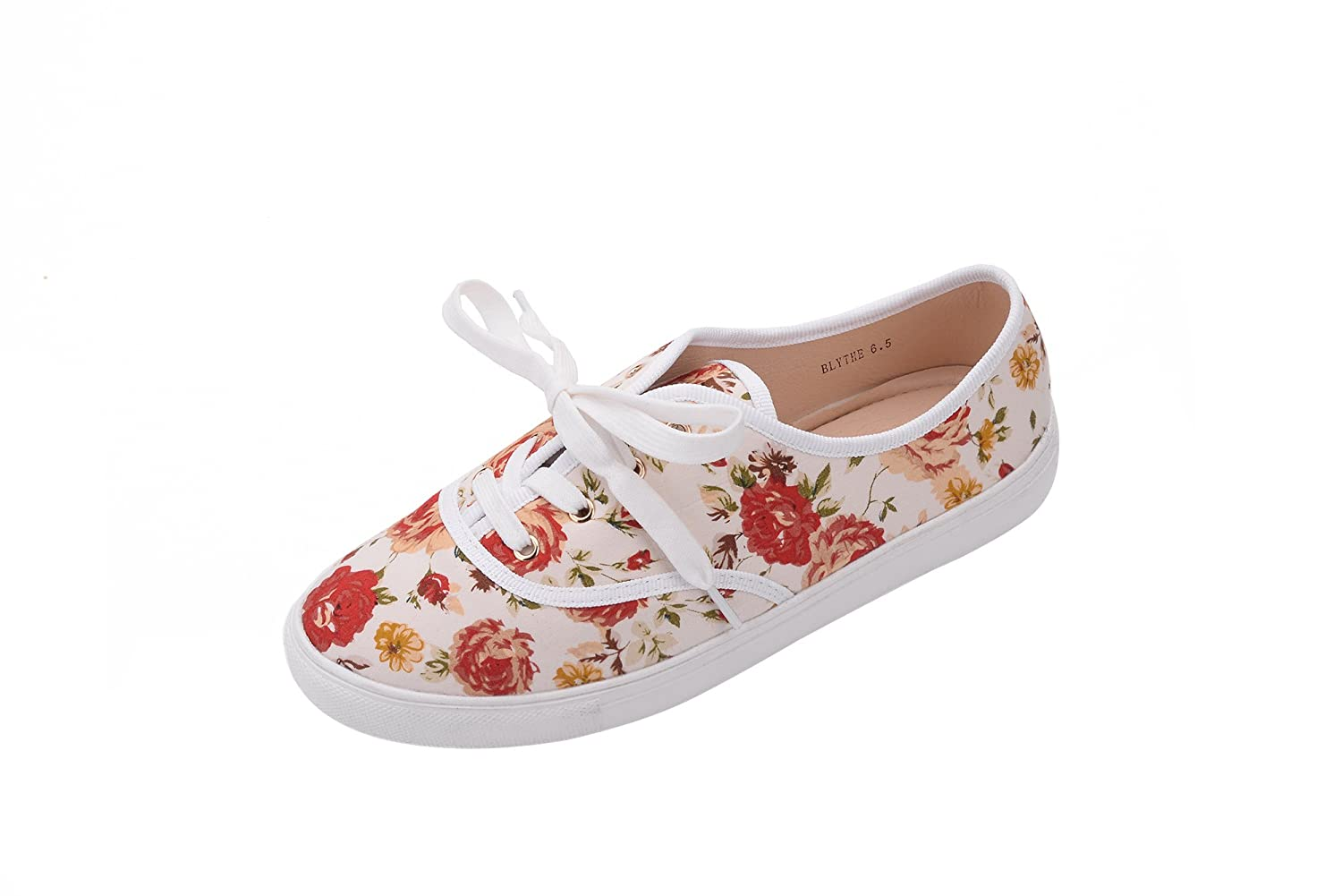 51c4b82bf8c61 GREENS (BLYTHEE Women Canvas Floral Lace up Flat Sneaker FL/White 8