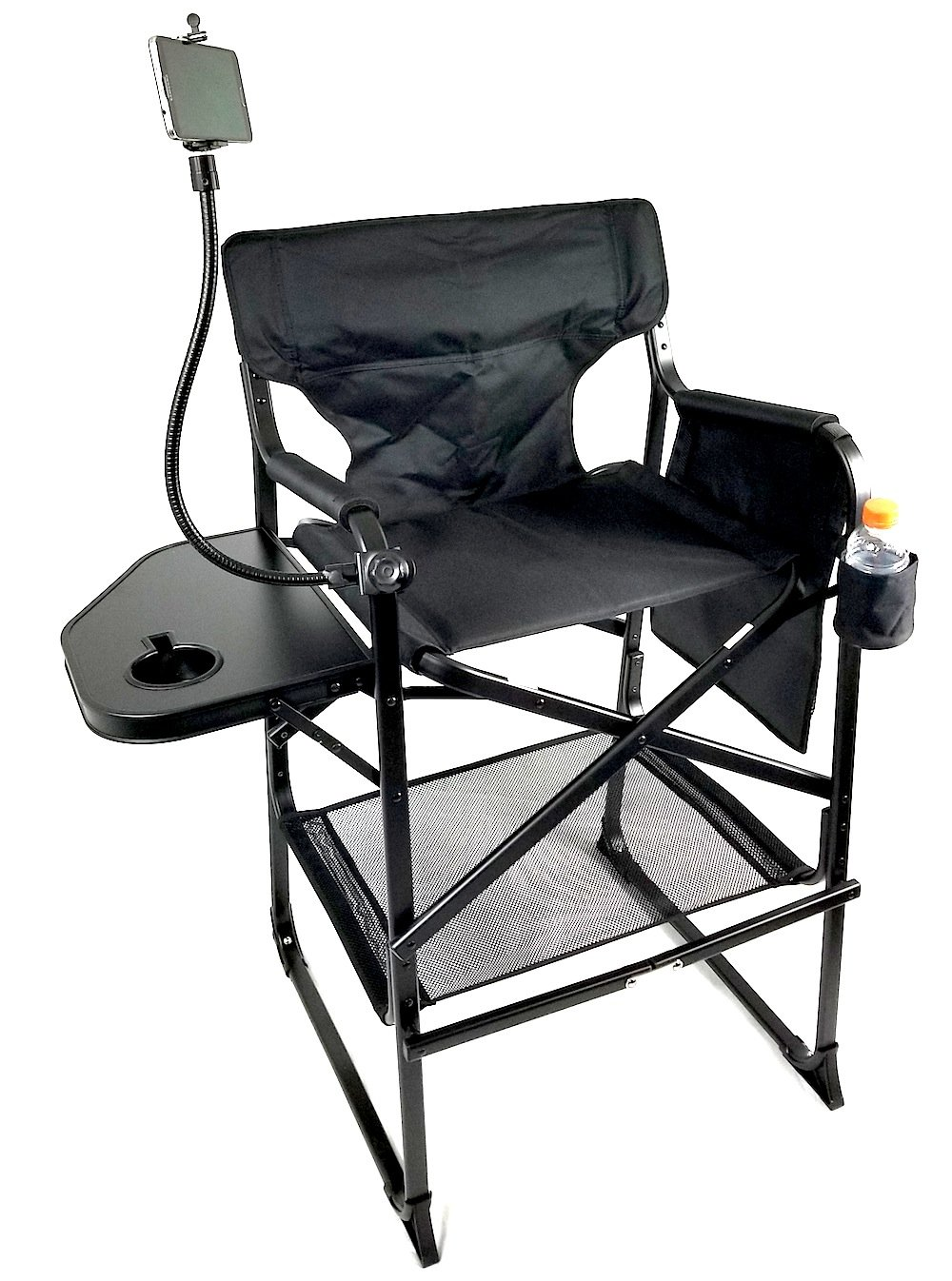 TuscanyPro Tall Compact Aluminum Director Chair w/ PHONE HOLDER & Trash Bag--CARRY BAG INCLUDED! PRODUCT--5 YEARS WARRANTY