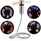 New RGB USB LED RGB Programmable Fan for PC Laptop Notebook Desktops Flexible Gooseneck Mini USB Programmable Fan Colorful Cooling Fan Silver