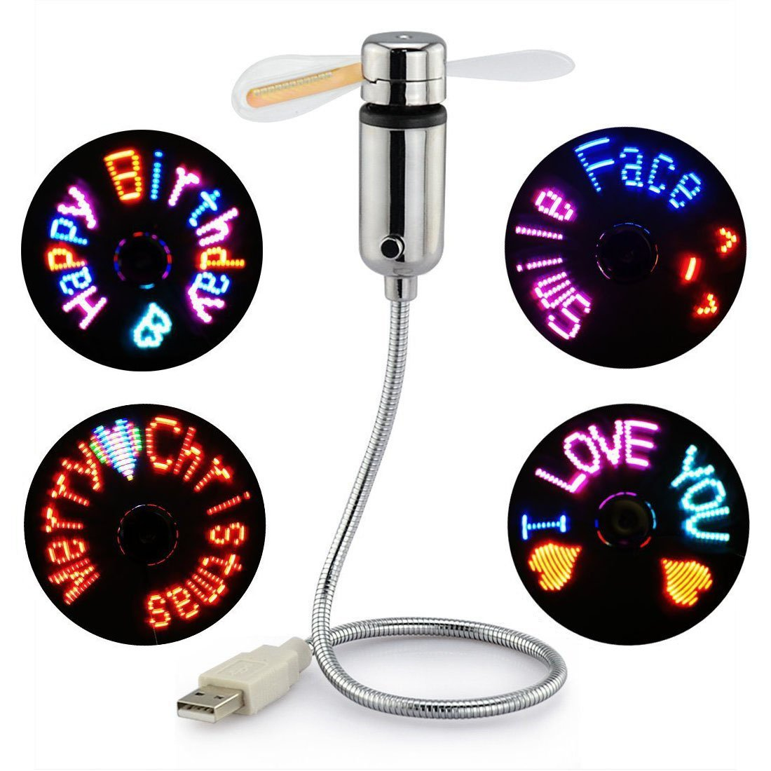 New RGB USB LED RGB Programmable Fan for PC Laptop Notebook Desktops Flexible Gooseneck Mini USB Programmable Fan Colorful Cooling Fan Silver by XXMANX