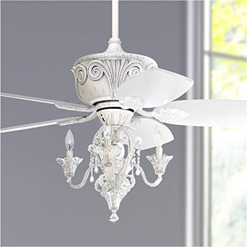 44 Casa Deville Vintage Chic Ceiling Fan with Light LED Dimmable Crystal Chandelier Rubbed White for Living Room Kitchen Bedroom Family Dining – Casa Vieja