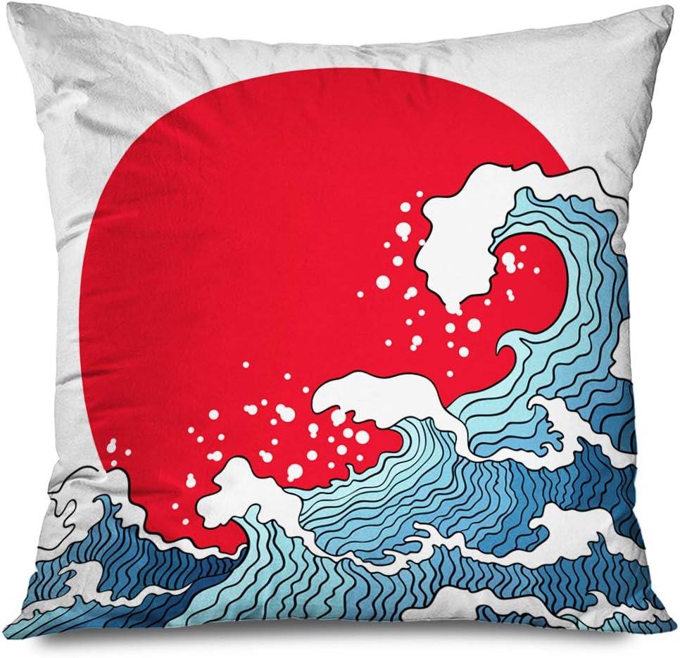 Onete Throw Pillow Cover Square 16x16 Inches Cruise Awaresome Wave Asian Ocean Waves Sunrise Sun Nature Blue Design Tsunami Holiday Nautical Decorative Cushion Case Home Decor Zippered Pillowcase