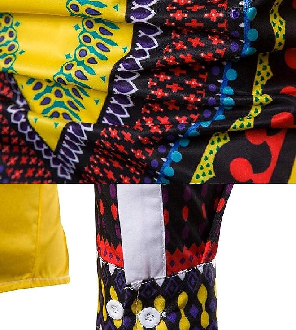 WSPLYSPJY Mens Fashion Button African Dashiki Floral Printed Down Dress Shirts Top