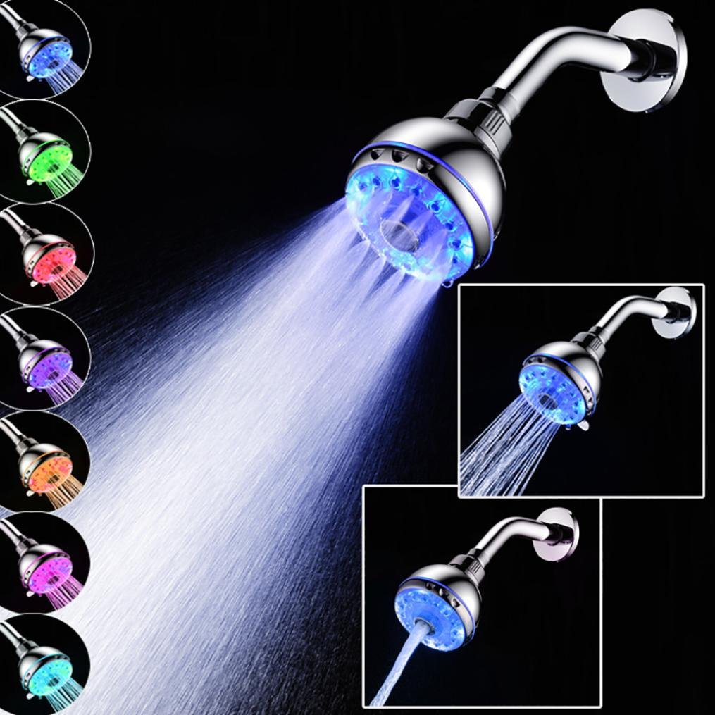 Rumas SDH1-A21 15LEDs Light SPA Shower Head, Colors Changing Water Restrictor, Detachable Shower Nozzle, Bathroom Shower Top Sprayer (Silver)