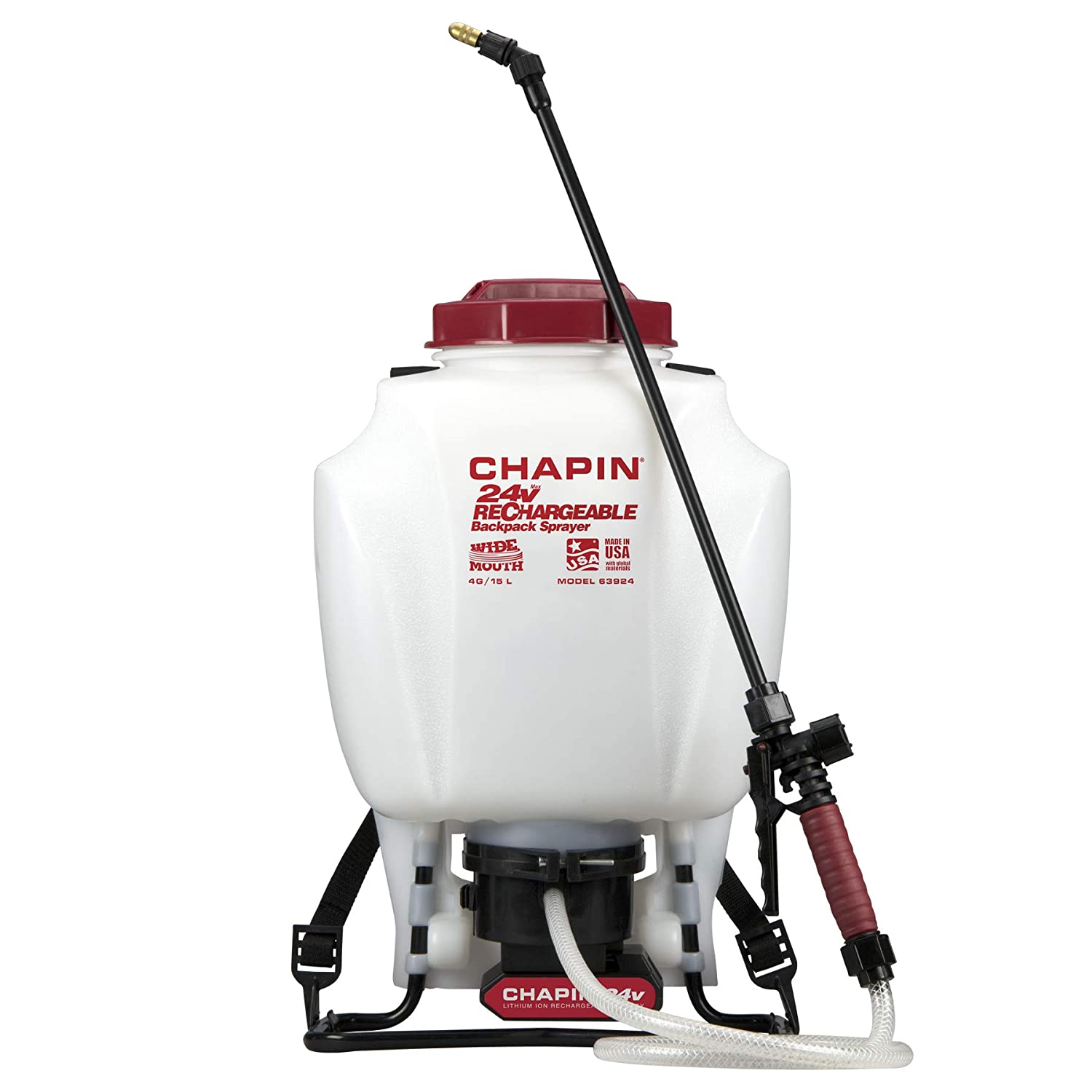Chapin 63924 4-Gallon 24-volt Extended Spray Time Battery Backpack Sprayer For Fertilizer, Herbicides and Pesticides, 4-Gallon (1 Sprayer/Package)
