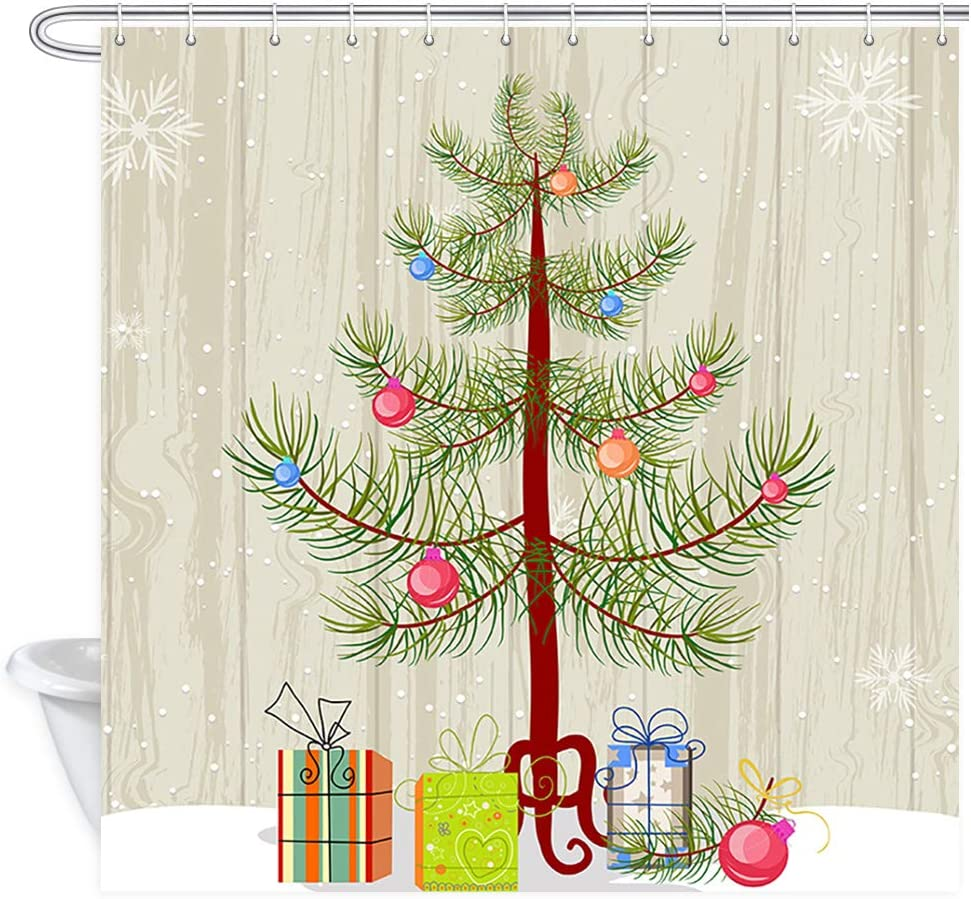 KOTOM Christmas Decor Shower Curtain, Gift Box Under The Christmas Tree Snowflake, Polyester Fabric Bath Curtains Hooks 69W X 70L Inches