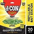 d-Con Corner Fit Mouse Poison Bait Station with 1 Trap and Bait Refills, Plain, 20 Count