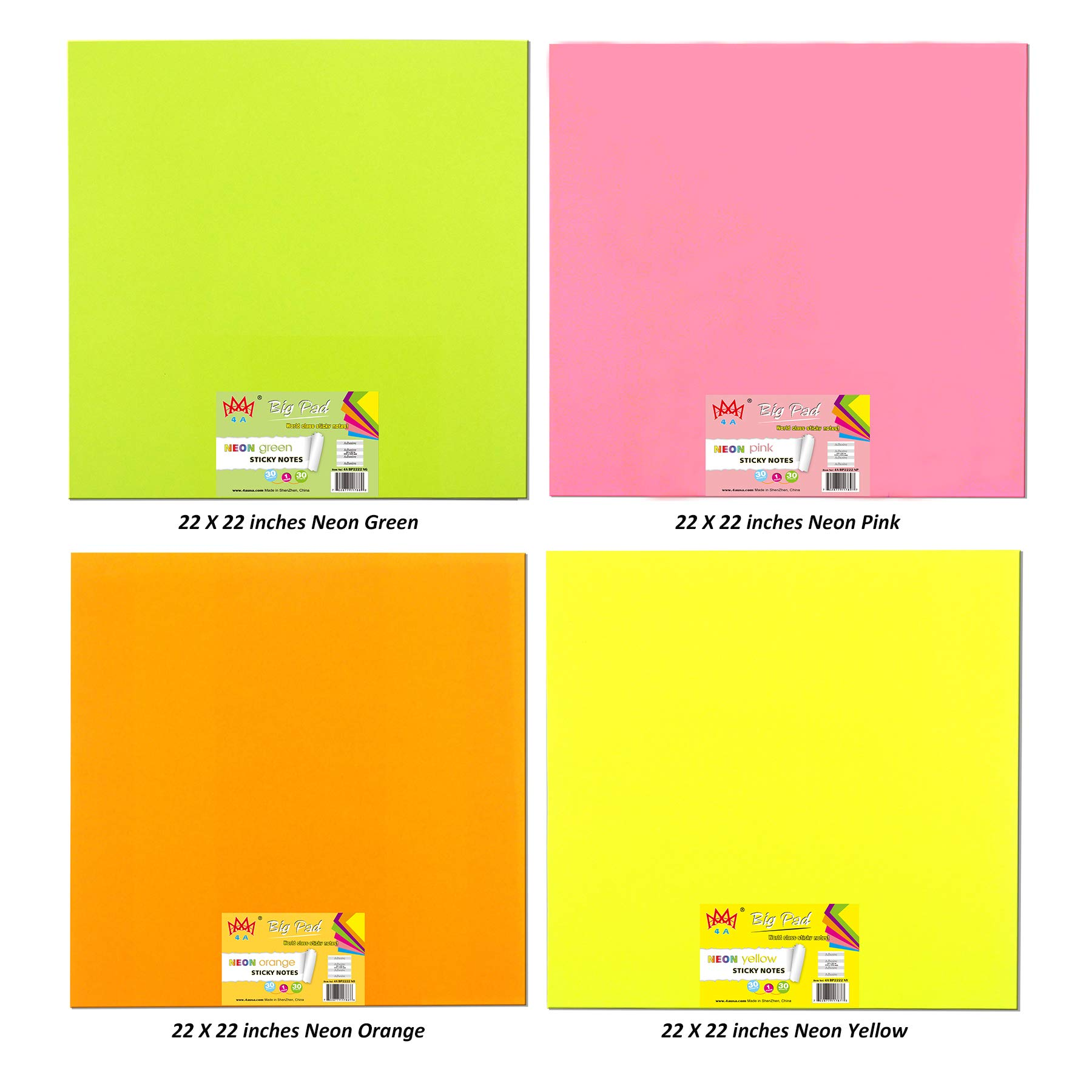 4A Sticky Big Pad,22 x 22 Inches,Large Size,Neon Green,Pink,Orange and Yellow,Self-Stick Notes,30 Sheets/Pad,4 Pad/Pack,4A BP2222 NGPOY