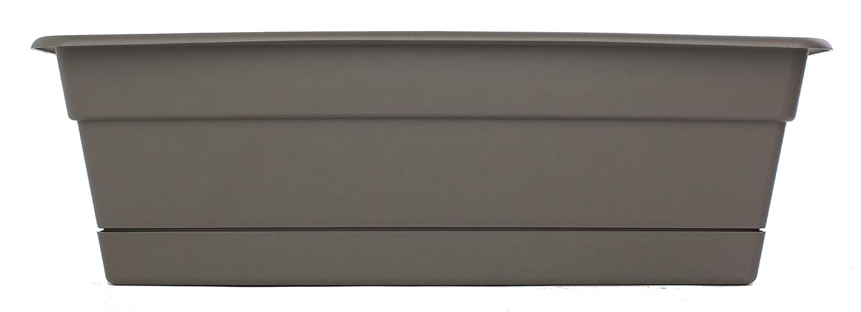 "Bloem DCBT24-60 Dura Cotta Plant Window Box, 24-Inch, Peppercorn"", Grey"