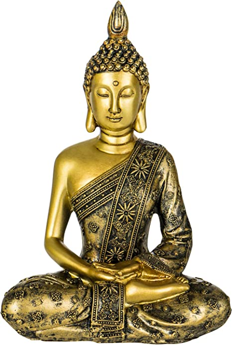 YINASI Meditating Buddha Statue Antique Handmade Resin Seated Buddha Blessing Statue Figurine Decoration for Tabletop Desk Living Room Bedroom Office Hotel