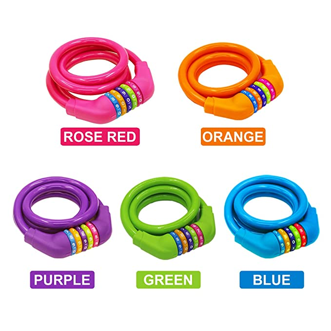 Mountain Or BMX Bicycle 1.2mx12mm IDEALUX Bike Lock High Security 5 Digit Resettable Combination Coiling Cable Lock Best for Bicycle Outdoors,Road Rose Red