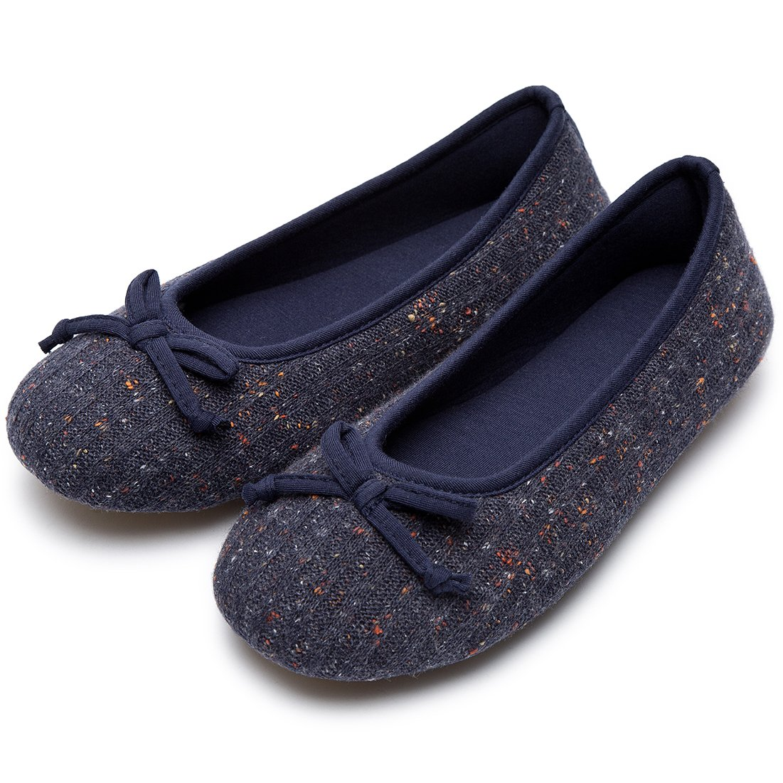 Women's Comfy Colored Knit Memory Foam Ballerina House Slippers Shoes with Anti-Slip Rubber Sole (Small/5-6 B(M) US, Navy Blue)