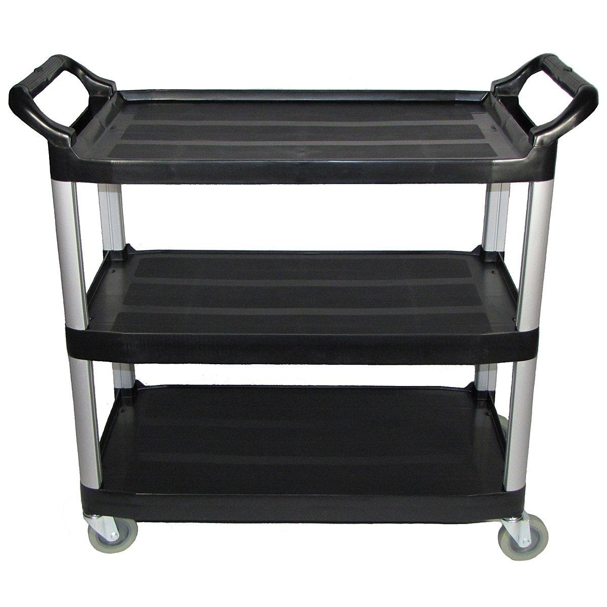 Crayata 3 Shelf Rolling Utility Cart with Heavy Duty Plastic Shelves and Custom Oversized 4 Inch Wheels, 400 Pound Weight Capacity, Black (Large) by Crayata