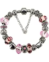 White Birch Murano Glass Bead Love Charm Bracelet with Charm for Pandora Pink Flower